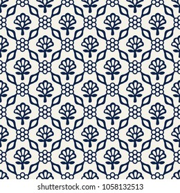 Woodblock printed indigo dye seamless ethnic floral damask pattern. Traditional oriental ornament of India Kashmir, geometric flowers and leaves, navy blue on ecru background. Textile design.