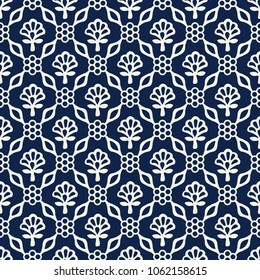 Woodblock printed indigo dye seamless ethnic floral damask pattern. Traditional oriental ornament of India Kashmir, geometric flowers and leaves, ecru on navy blue background. Textile design.