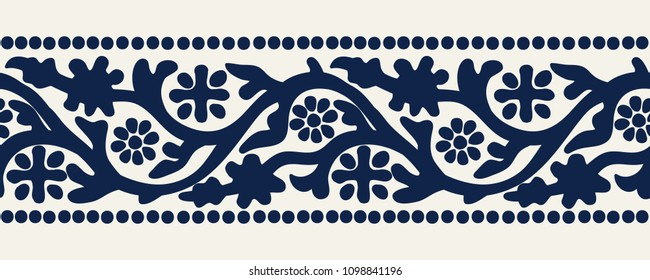 Woodblock printed indigo dye seamless ethnic floral geometric border. Traditional oriental ornament of India Kashmir, flowers wave motif, navy blue on ecru background. Textile design.