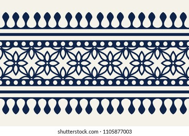 Woodblock printed indigo dye seamless ethnic floral border. Traditional oriental ornament of India Kashmir, geometric flowers motif, navy blue on ecru background. Textile design.