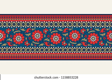 Woodblock printed indigo dye seamless ethnic floral border. Traditional oriental ornament of India, garland motif, blue, red and gold tones on ecru background. Textile design.