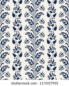 Woodblock printed indigo dye seamless ethnic floral pattern. Traditional oriental ornament of India, flower garland motif in vertical stripes, navy blue on ecru background. Textile design.