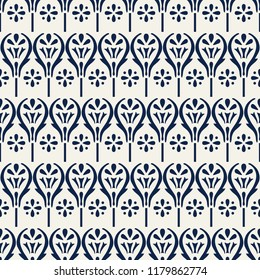Woodblock printed indigo dye seamless ethnic floral geometric pattern. Traditional oriental ornament of India, damask motif of flowers, navy blue on ecru background. Textile design.