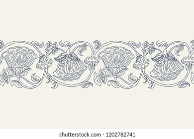 Woodblock printed indigo dye seamless ethnic floral border. Traditional oriental ornament of India, wave line of flowers and leaves, navy blue on ecru background. Textile design.