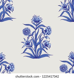 Woodblock printed indigo dye seamless ethnic floral all over pattern. Traditional oriental motif of India Mogul with bouquets of carnations, blue hues on ecru background. Textile design.