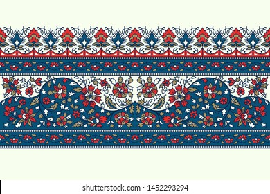 Woodblock printed indigo dye seamless floral ethnic border. Traditional oriental ornament of India, flower garland motif, blue, red and gold tones on ecru background. Textile design.