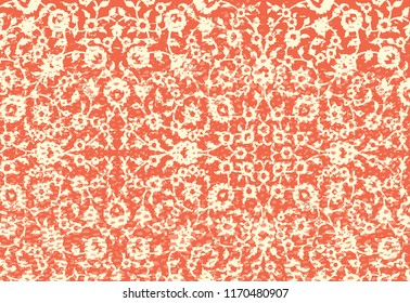 Woodblock printed orange seamless ethnic floral geometric border. Traditional oriental ornament of India Kashmir, flowers wave and arcade motif, beige  on orange background. Textile design.