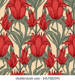 Woodblock printed seamless all over ethnic floral pattern. Traditional oriental motif of India Mogul with bouquets of scarlet red flowers on ecru background. Textile design.