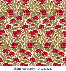 Woodblock printed seamless ethnic all over floral pattern. Traditional oriental motif of India, flowers of Kashmir, with red poppies on ecru background. Textile design.