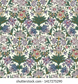 Woodblock printed seamless ethnic all over floral pattern. Traditional oriental motif of of India Jaipur, bunch of chrysanthemums, lilies, roses and dahlias on ecru background. Textile design