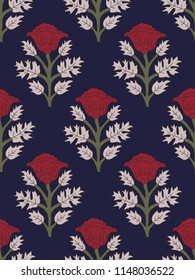 Woodblock printed seamless ethnic floral all over pattern. Traditional oriental motif of India with red poppies on indigo blue background. Textile design.