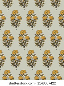 Woodblock printed seamless ethnic floral all over pattern. Traditional oriental motif of India with bouquets of yellow roses on ecru background. Textile design.