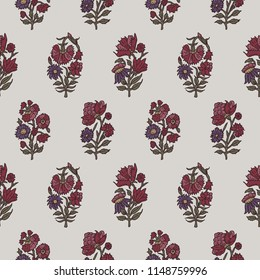 Woodblock printed seamless ethnic floral all over pattern. Traditional oriental motif of India with carnations on ecru background. Textile design.