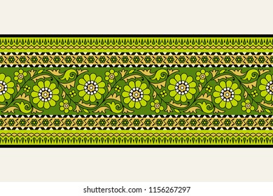 Woodblock printed seamless ethnic floral border. Traditional oriental ornament of India, garland motif, green and gold tones on ecru background. Textile design.