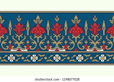 Woodblock printed seamless ethnic floral border. Traditional oriental ornament of India, damask motif, red, blue and golden tones on ecru background. Textile design.