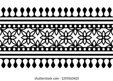 Woodblock printed seamless ethnic floral border. Traditional oriental ornament of India Kashmir, geometric flowers motif, black on white background. Textile design.