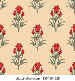 Woodblock printed seamless ethnic floral all over pattern. Traditional oriental motif of India Mogul with bouquets of scarlet red flowers on ecru background. Textile design.