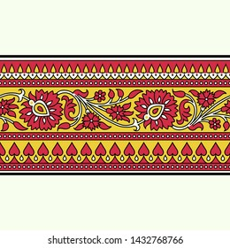 Woodblock printed seamless ethnic floral border. Traditional oriental ornament of India, meander motif with red and yellow flowers on ecru background. Textile design.