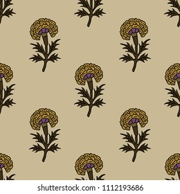 Woodblock printed seamless floral pattern. Traditional oriental ethnic ornament of India, marigolds on ecru background. Textile design.
