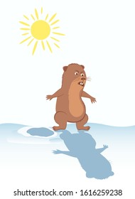 Woodchuck near his burrow. Sun in the sky. Funny marmot scared of his shadow. Vector illustration for February 2 Groundhog Day.