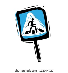 Woodcut engrave illustration of road sign pedestrian crossing