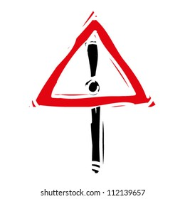 """woodcut engrave illustration of road sign """"attention"""""""