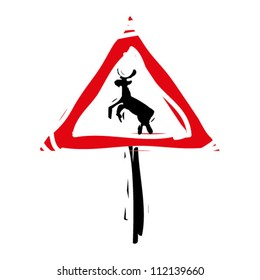 "woodcut engrave illustration of road sign ""deers"""
