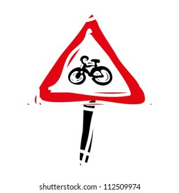 """woodcut engrave illustration of road sign """"bicycle"""""""