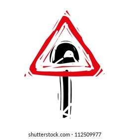 """woodcut engrave illustration of road sign """"tunnel"""""""