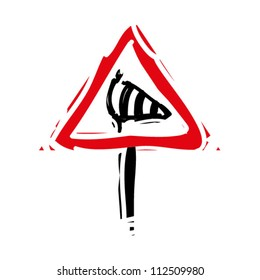 """woodcut engrave illustration of road sign """"wind"""""""