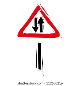 """woodcut engrave illustration of road sign """"two way road"""""""