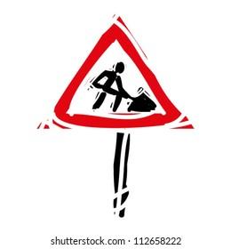 "woodcut engrave illustration of road sign ""roadworks"""