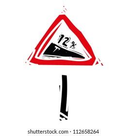 """woodcut engrave illustration of road sign """"tilt road"""""""