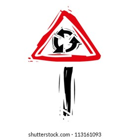 """woodcut engrave illustration of road sign """"roundabout"""""""