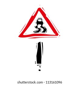 """woodcut engrave illustration of road sign """"slippery road"""""""