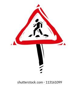 "woodcut engrave illustration of road sign ""crosswalk"""