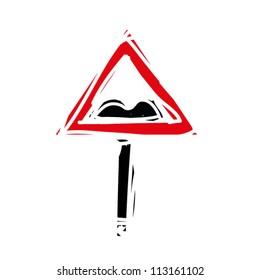 "woodcut engrave illustration of road sign ""pothole road"""