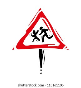 "woodcut engrave illustration of road sign ""children"""