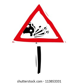 """woodcut engrave illustration of road sign """"loose gravel"""""""