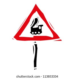 """woodcut engrave illustration of road sign """"trains"""""""