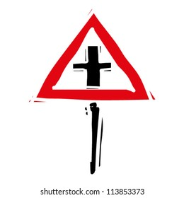 """woodcut engrave illustration of road sign """"crossroads"""""""