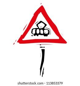 "woodcut engrave illustration of road sign ""tram"""