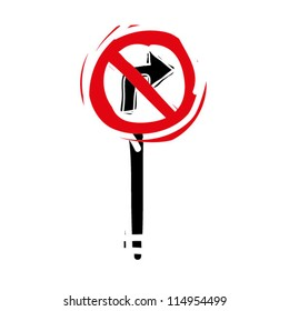 """woodcut engrave illustration of road sign """"no right turn"""""""