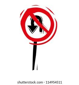 "woodcut engrave illustration of road sign ""no u turn"""