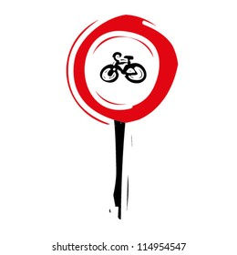 """woodcut engrave illustration of road sign """"No entry tor cycle"""""""