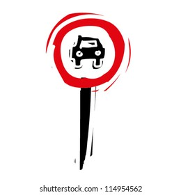 """woodcut engrave illustration of road sign """"No entry for motor vehicle"""""""