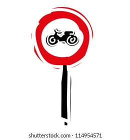 """woodcut engrave illustration of road sign """"No entry for motorcycle"""""""
