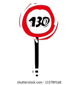 """woodcut engrave illustration of road sign """"speed limit 130"""""""