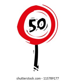 """woodcut engrave illustration of road sign """"speed limit 50"""""""