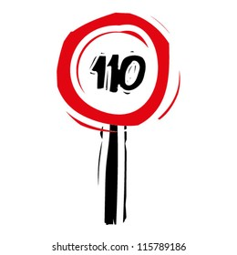 """woodcut engrave illustration of road sign """"speed limit 110"""""""